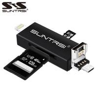 Suntrsi 6 In 1 Lightning Micro USB Pembaca Kartu Micro SD Card Pembaca Pengisian TF/SD Card Reader IPhone/Ponsel Pintar/Kamera/PC