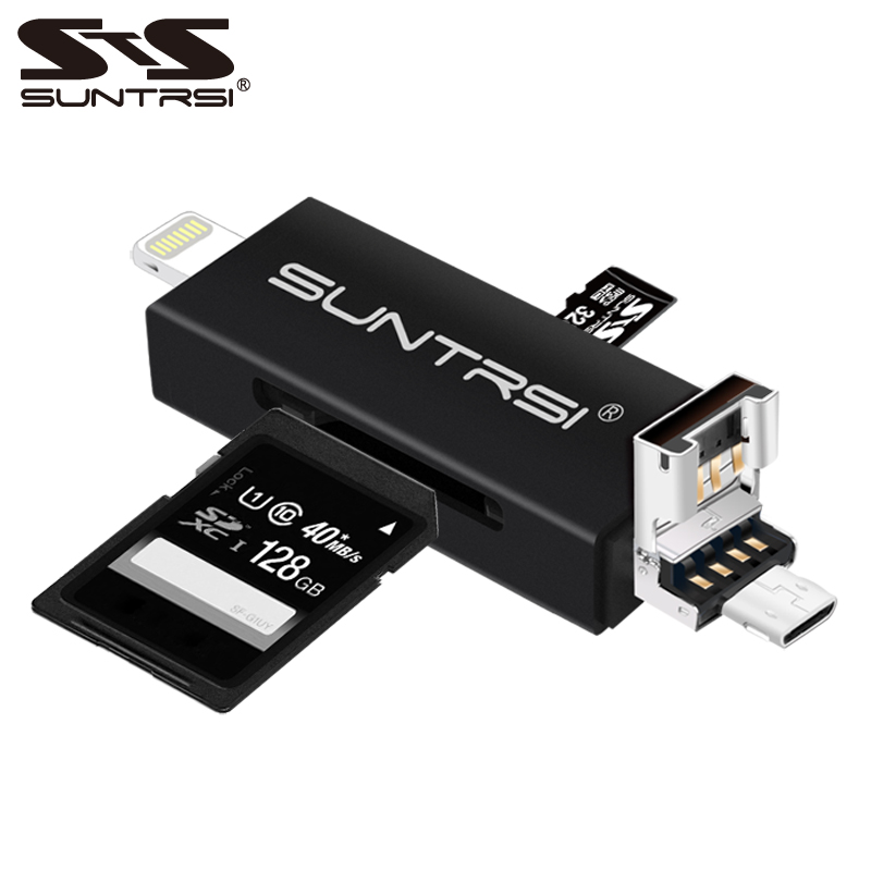 Suntrsi 6 in 1 Lightning Micro USB Card Reader Micro SD Card Reader Charging TF /SD Card Reader for iphone/smart phone/camera/PC 4 in 1 type c lightning micro usb usb 2 0 memory card reader micro sd card reader for android ipad iphone 7plus 6s5s otg reader