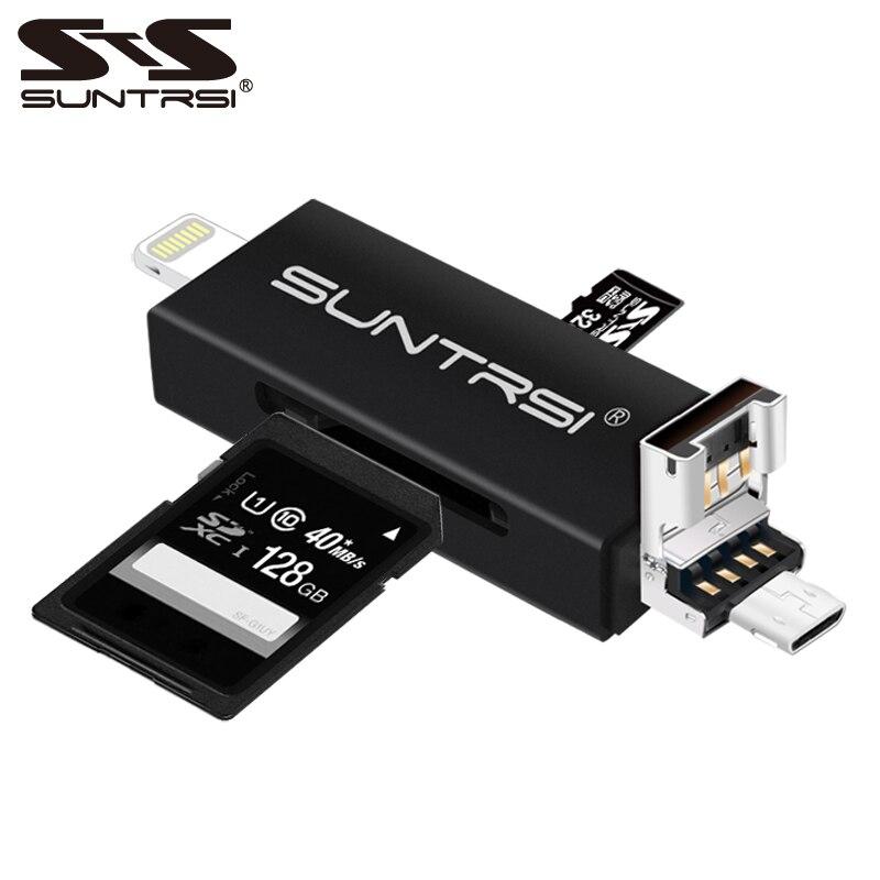 цена на Suntrsi 6 in 1 Lightning Micro USB Card Reader Micro SD Card Reader Charging TF /SD Card Reader for iphone/smart phone/camera/PC