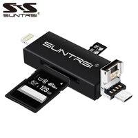 Suntrsi 6 in 1 Yıldırım mikro usb kart okuyucu Mikro USB kart okuyucu Şarj TF/USB kart okuyucu için iphone/akıllı telefon/kamera /PC