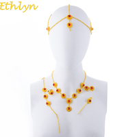 Ethlyn Ethiopian Jewelry Set Necklace Earring Ring Hair Piece Hair Chain Bracelet Gold Color African Bridal