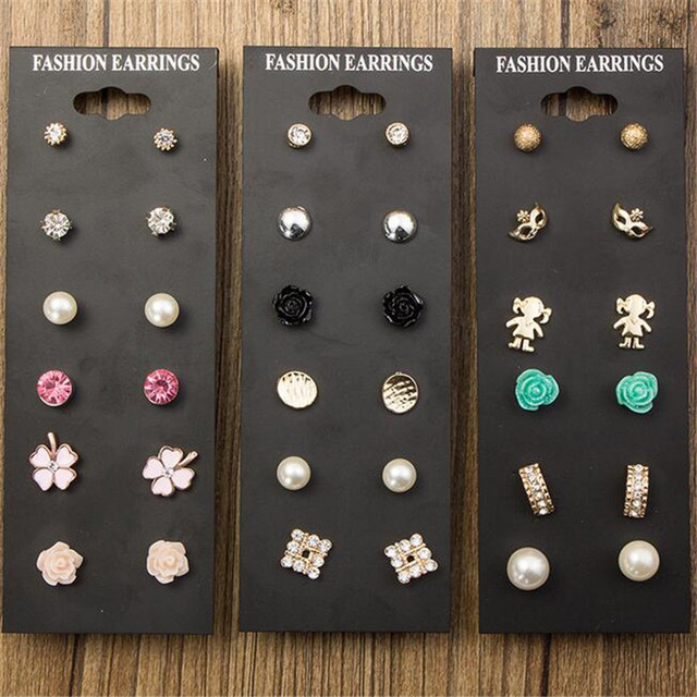 51b45e089 9 par lote Claire moda Accesorios clásico cristal Pendientes de broche para  las mujeres Perla