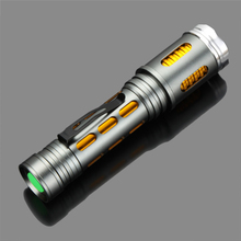 Silver Golden 2000 Lm LED Torch Portable CREE XML-T6 Flashlight Portable Adjustable focus Lantern for 18650 battery /3 * AAA