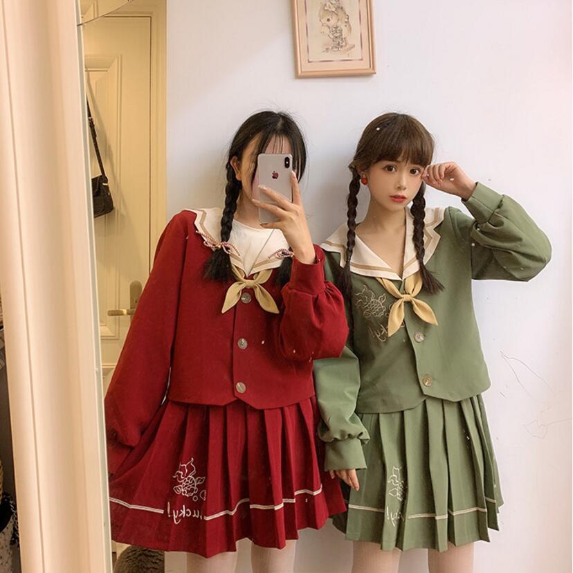 Mignon Koi poisson broderie marine col école JK marin costume uniforme Preppy Style Cosplay femmes japonais fille école uniforme ensemble