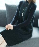 2018 новые осенние и зимние офисные Полный рукавом Империя Шерсть большие размеры; Брендовые женские для девочек свободное платье одежда 79193