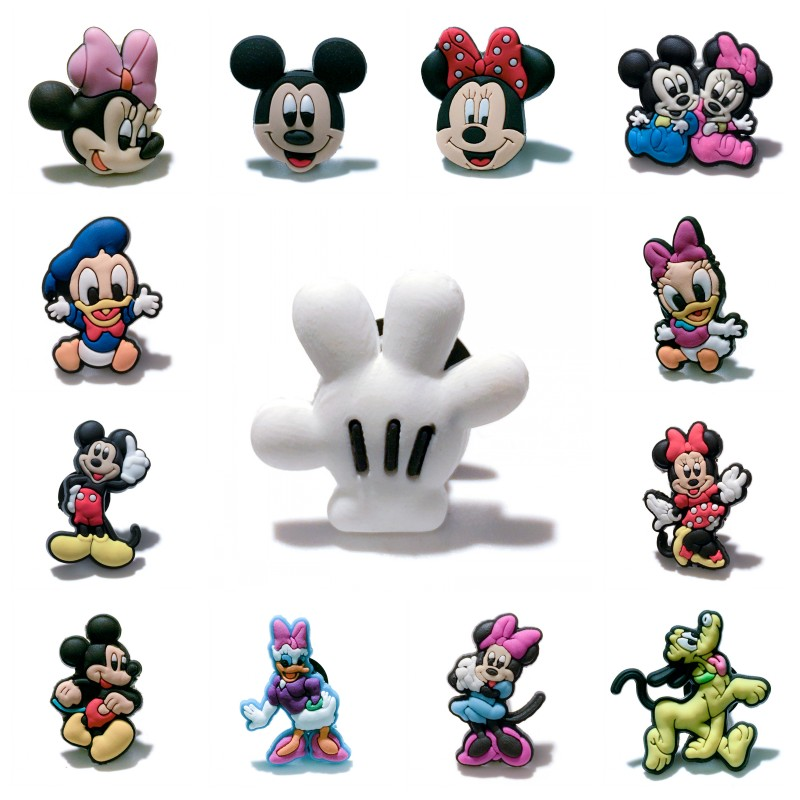 50pcs Mickey Shoe Charms Cute Decoration Buckles Fit Bands Bracelets Croc JIBZ Minnie Shoes Buttons Kids Birthday Gift