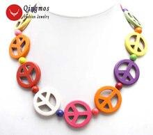 Qingmos Трендовое 18 ''бирюзовое ожерелье Чокеры для