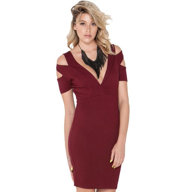 e78f826332e8 Slim stylish short-sleeved V-neck strapless knee-length dress sexy package  hip dress after split swing dress
