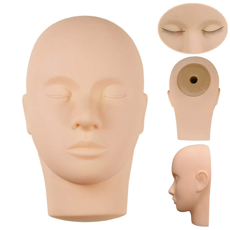 Silicone Mannequin Head Flat Eye Facial Eyelash Eyelash Extension Makeup Practice Cosmetic Model Training Heads Tool