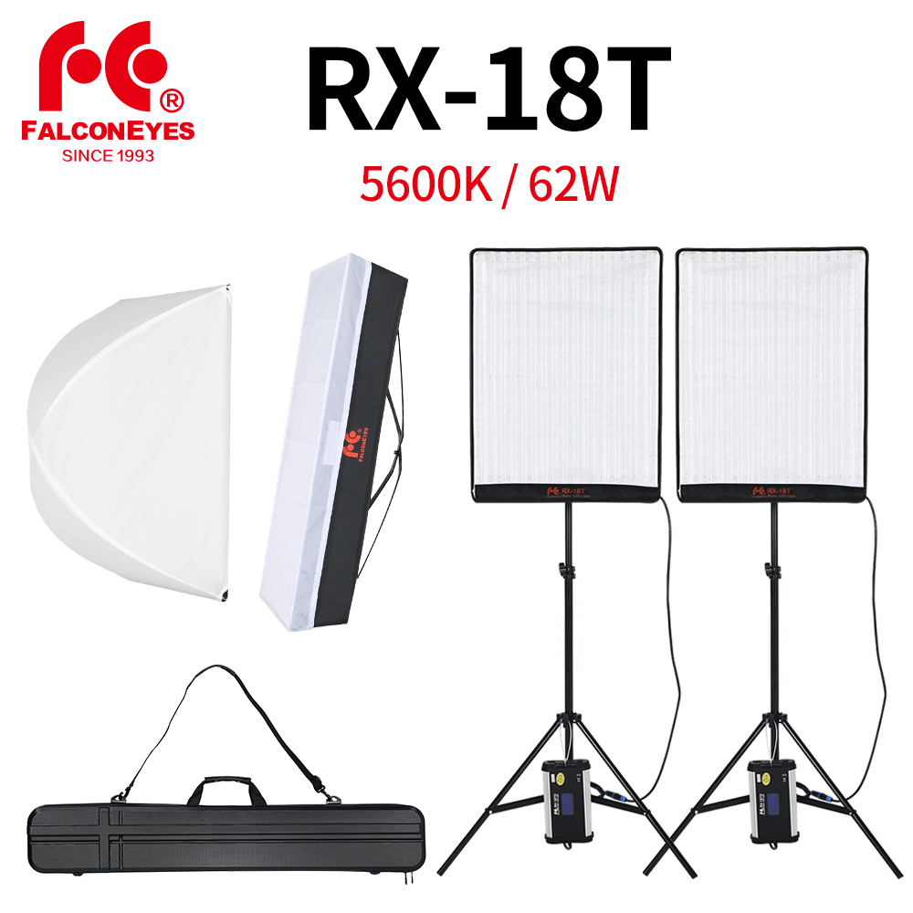 Falcon Eyes 2pcs RX-18T 62W Flexible LED Video Light 504pcs Rollable Cloth Lamp With Diffuser + Outdoor Carry Bag + Light Stand