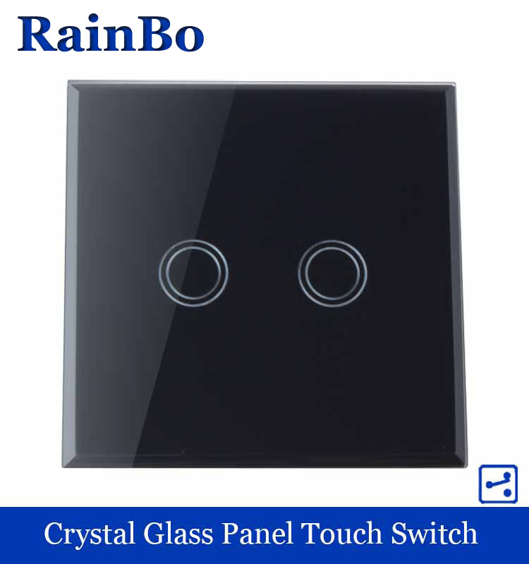 New Touch Switch Screen  Crystal Glass Panel  switch EU Standard 110~250V Wall Light Switch 2 gang 2 way Black  rainbo A1922XB smart home us au wall touch switch white crystal glass panel 1 gang 1 way power light wall touch switch used for led waterproof