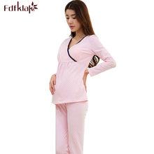 fa7f69402 Fdfklak algodón suave Maternidad pijamas sexy v-cuello embarazo ropa  mujeres Pijamas de lactancia ropa de enfermería pijama