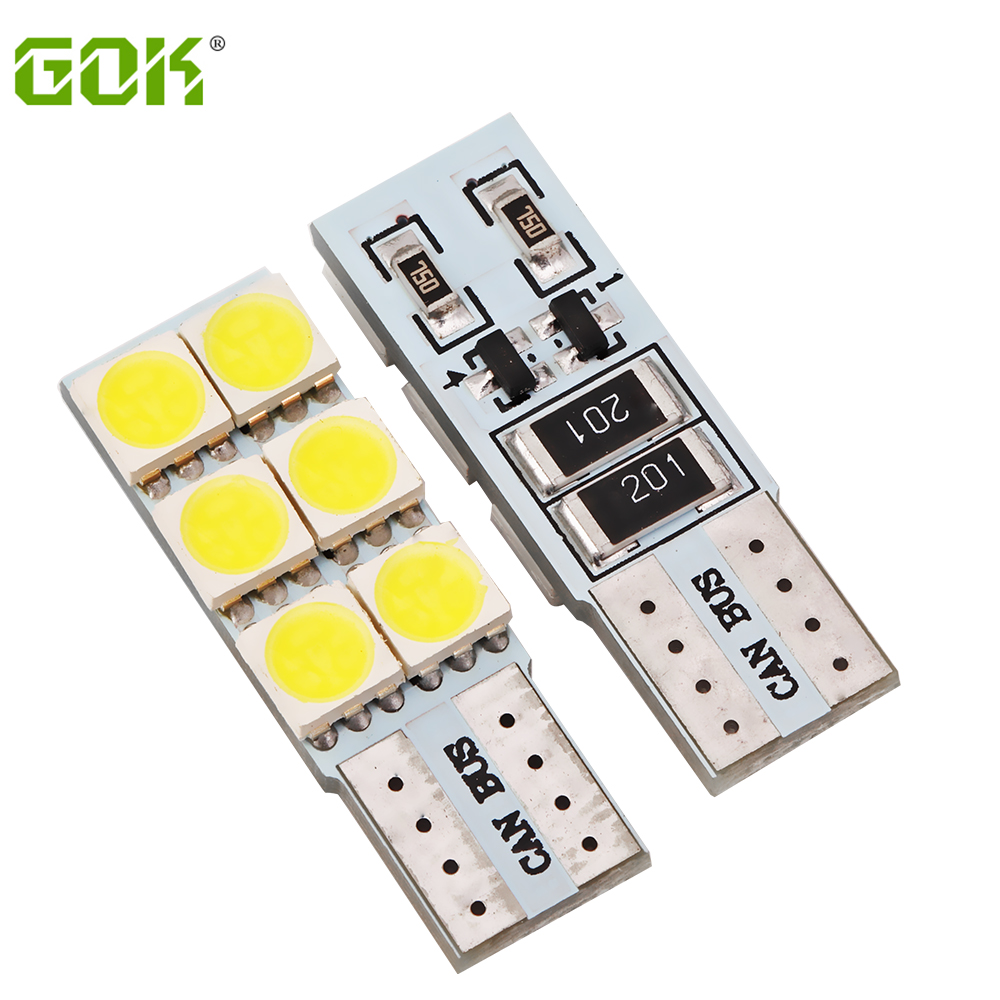 100pcs/lot T10 W5w led canbus 6led  5050 smd Turn Wedge Light Led Car Side Lamp Bulb Free Shipping Wholesale 4x canbus error free t10 194 168 w5w 5050 led 6 smd white side wedge light bulb