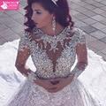 Stunning Long Sleeve Lace Wedding Gown Luxury Beading Crystals Vintage Wedding Dress 2017 Vestidos De Noiva Renda New W201725