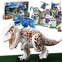 Jurassic World Dinosaur Building Blocks With Gundam Holding Weapons Hunt Dinosaurs Children Gift Blocks Boy Toys