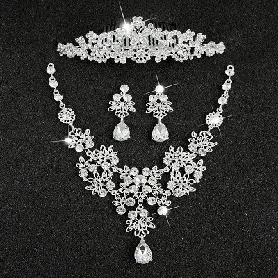 Hot Sale Sliver Plated Rhinestone Crystal Necklace+Earrings+Tiara 3pcs Jewelry Set For Bride Bridal Wedding Accessories (8)