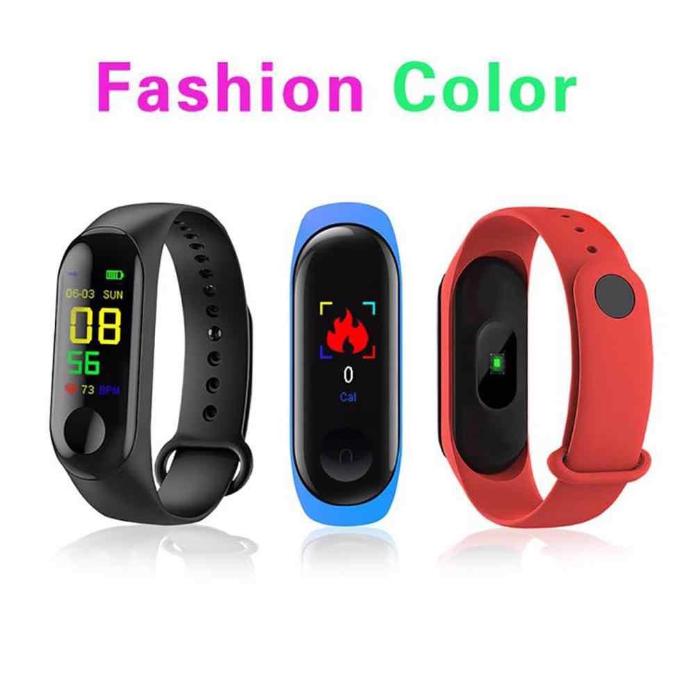M3 צבע מסך חכם צמיד כושר Tracker מונה לב שיעור דם לחץ מידע לדחוף תזכורת שעון עמיד למים