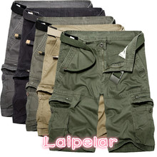 2018 Mens Military Cargo Shorts Summer army green Cotton Shorts men Loose Multi-Pocket Shorts Homme Casual Bermuda Trousers 40 drawstring side pocket bermuda shorts