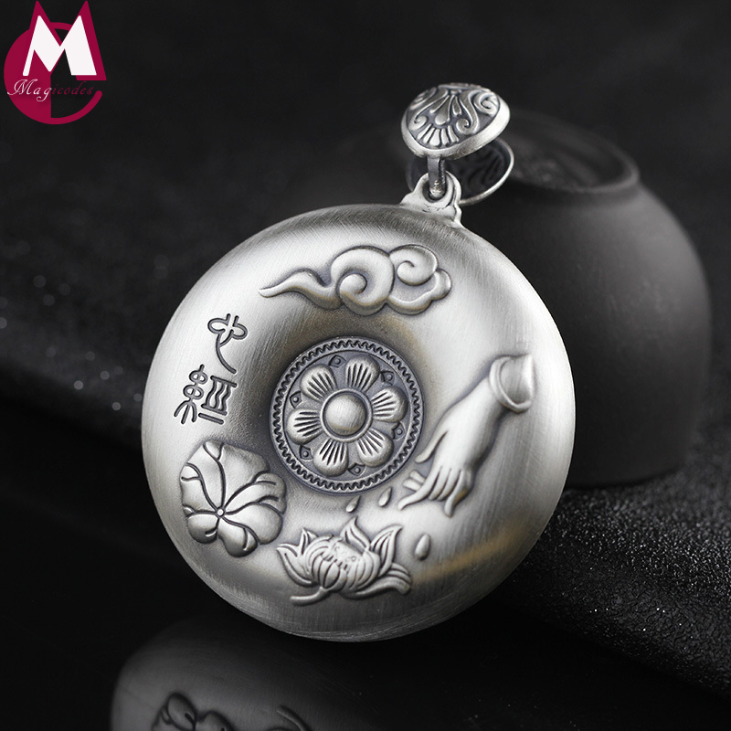 Women Men Pendant 999 Sterling Thai Silver Necklace Heart Sutra Buddhist Amulet Round Carving Lotus Leaf Cloud Vintage Jewelry