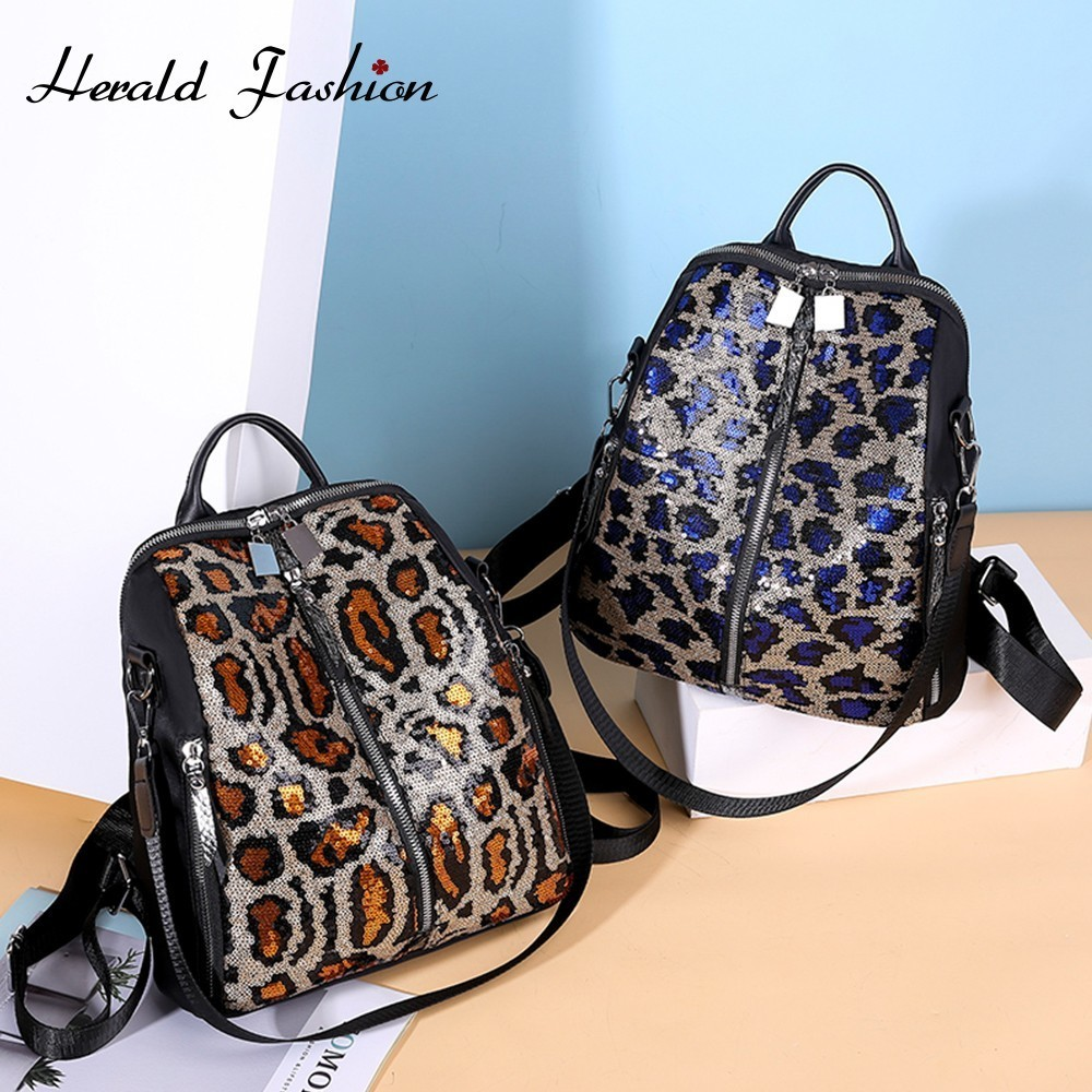 Herald Fashion Large Capacity Women Backpack Leopard Print Oxford School Bag For Teenage Girl Ladies Travel Shoulder Bag Mochila
