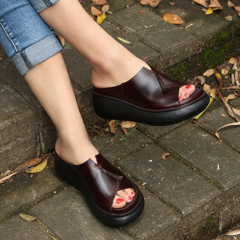 510 5 новая Оригинальная прошитая вручную кожаная обувь женские шлепанцы на толстой подошве женские шлепанцы для отдыха с рифленой подошвой ... - 4