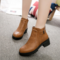 2016 Winter Women Boots New Fashion Zipper Woman Ankle Boots Round Toe Buckle Casual Boots Comfortable Square Heels Shoes ST914