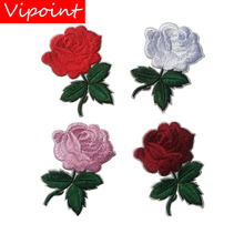 VIPOINT embroidery rose patches flower badges applique for clothing ST-2