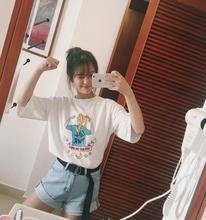 2017 новая летняя Корейская версия свободные с рисунком футболка с короткими рукавами женский