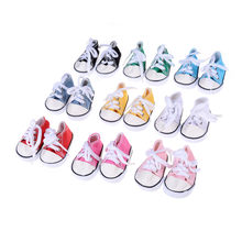 Canvas Lace Up Sneakers Shoes For 18 Inch Girl & Boy Doll Dropshipping Wholesaling Retailing 9 Colors(China)