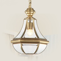 European Glass Full Pendant Lights Copper Lamp Bedroom Balcony Staircase Bar Retro Copper Material LU626 ZL95
