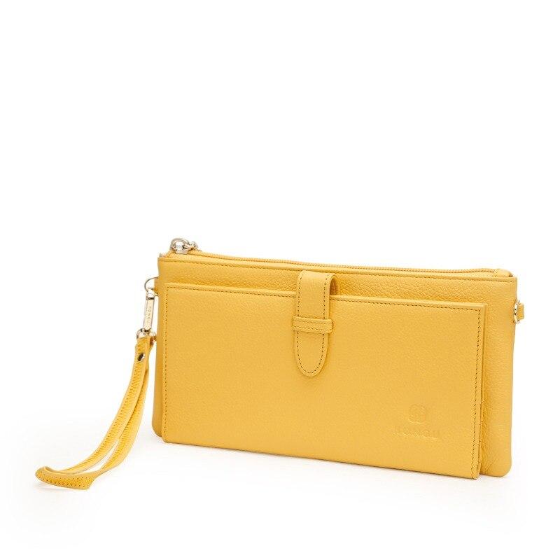 564b0f130bc Hongu 100% 정품 암소 가죽 가방 여성 지갑 동전 지갑 어깨 클러치 손목 가방 소녀