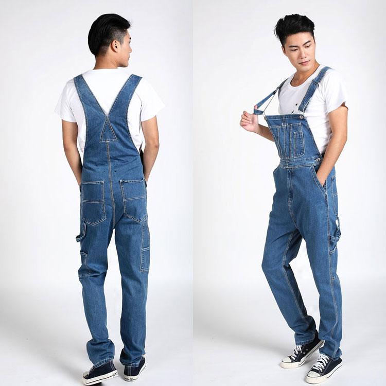 ФОТО Hot 2017 Men's loose Plus Size Overalls Denim fabric Large Size Denim Bib Cargo pants Pocket Jumpsuits Male Free shipping