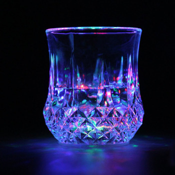 цена на LED Flashing Glowing Water Liquid Activated Light-up Wine Beer Glass Cup Mug Luminous Party Bar Drink Cup Wholesale