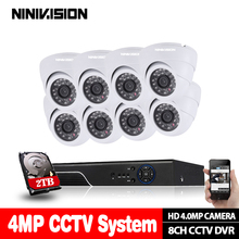 цены NINIVISION HD 8CH 4MP AHD security camera System Kit H.264 Dome Camera indoor Outdoor home cctv Video Surveillance DVR NVR set