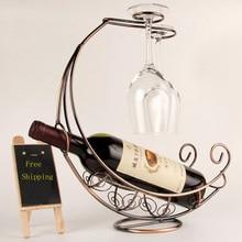 Kreative Mode Metall Weinregal Hängende Weinglashalter Piratenschiff Form Bar Weinhalter 3 Farben Heißer Verkauf
