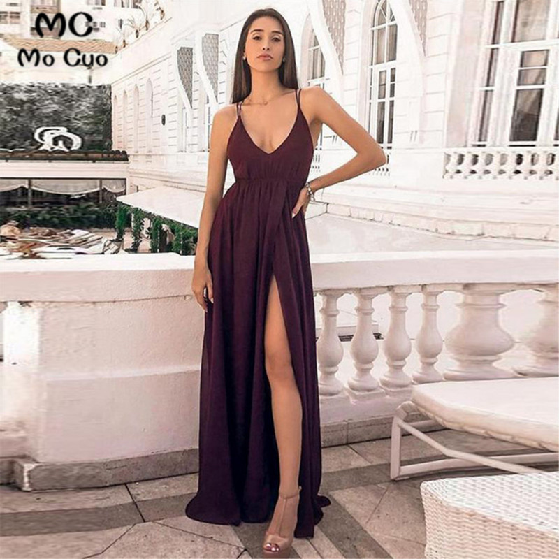 2019 Sexy   Prom     dresses   Long Spaghetti Straps V-Neck Front slit   dress   for graduation Chiffon Formal Evening Party   Dress   for Women