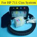 4 color/set cadeia diy 711 mangueira ciss sistema de abastecimento contínuo de tinta para hp 711 para impressoras hp designjet t120 t520 36/24 polegadas