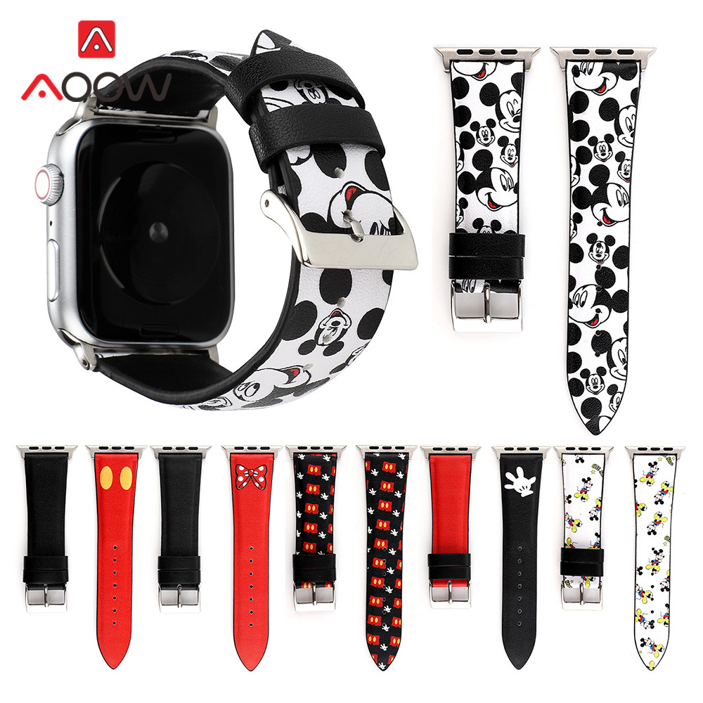 Cartoon Printing Leather Watchband For Apple Watch 40mm 44mm 38mm 42mm Mickey Mouse Bracelet Strap Band For IWatch 1 2 3 4