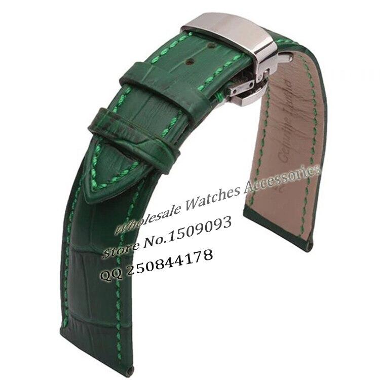 Green Genuine leather WatchbandsWristwatch Watch Bracelets Crocodile Grain Strap Silver Buckle 12mm 14mm 16mm 18mm 20mm