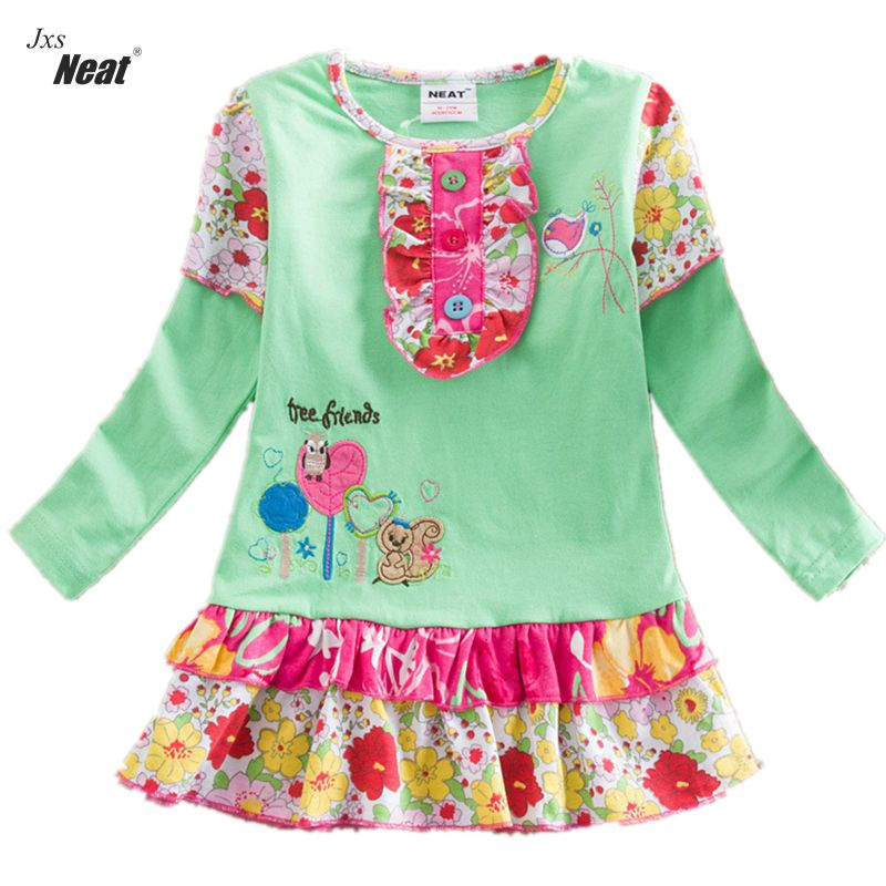 NEAT New style baby girl clothes dress cute girls dress kids clothes Long sleeve children clothing lovely children clothing L356 2017 new style long sleeve girls dress grey girl party time winter dress winter clothes girls halloween costume kids clothes