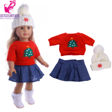 3 in 1 Red sweater+ cap+ jeans dress for zapf Baby Born Clothes Wear fit 18 inch american girl doll Children best Birthday Gift