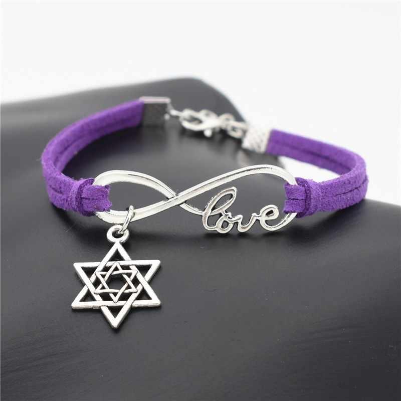 חדש אופנתי עתיק כסף מגן דוד קסמי עור צמידי אינפיניטי אהבת תכשיטי קיץ מזדמן ייחודי תכשיטי יהודית