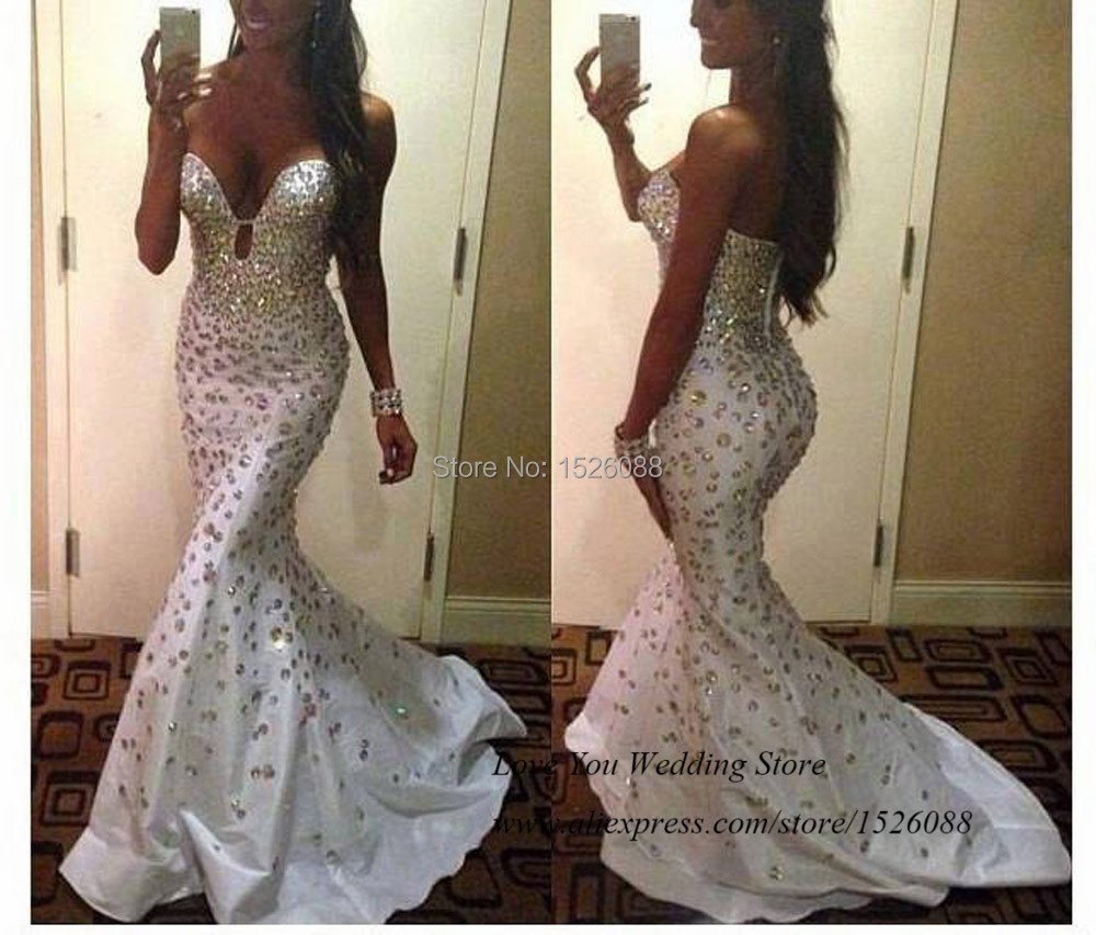 Cheap dress to order - Sexy Couture Crystals Mermaid Evening Dresses Rhinestones White Prom Dress Long Vestido Longo De Festa Taffeta