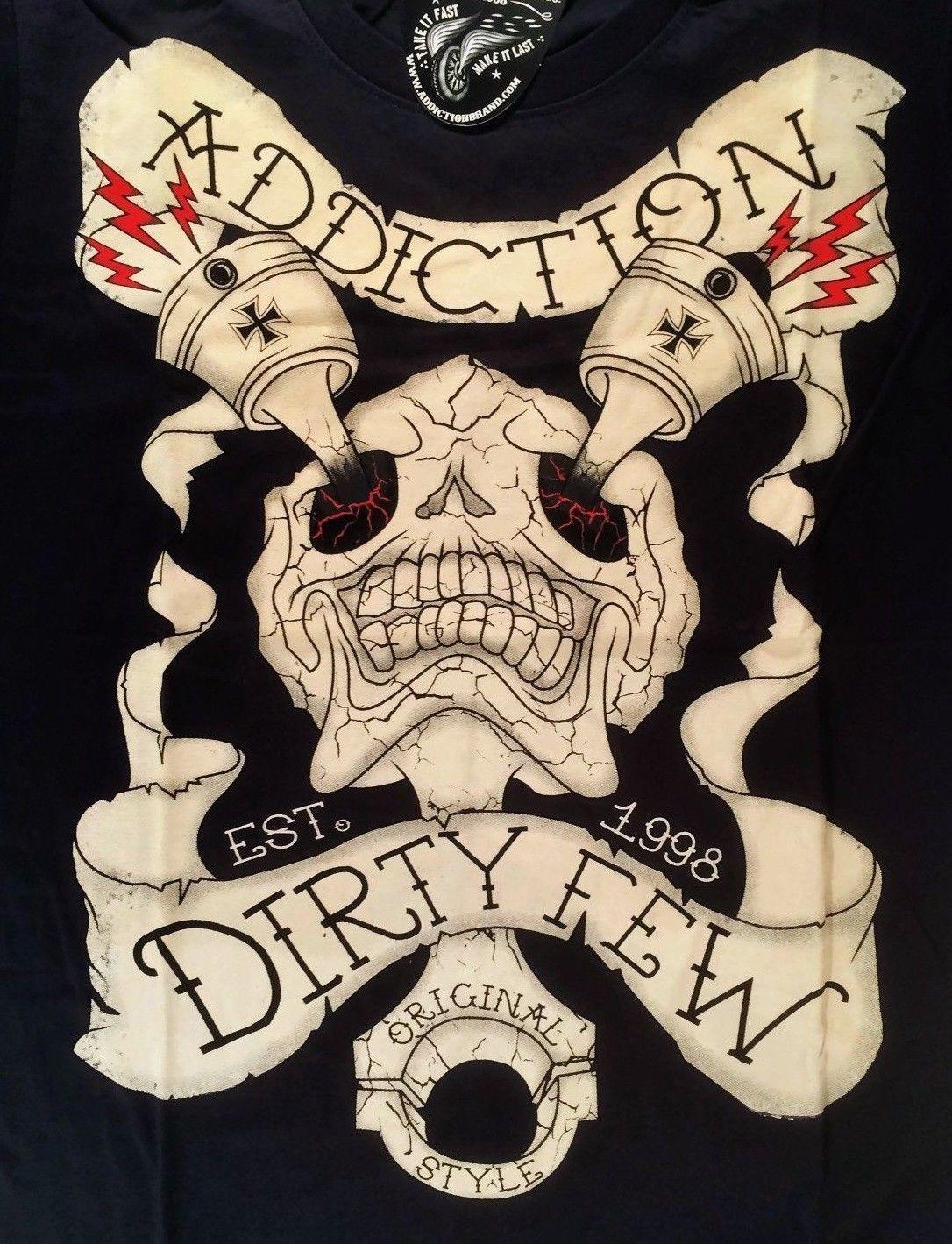 2018 Новый Для мужчин S футболки наркомании бренд Для мужчин футболка черный череп грязный несколько татуировки Байкер средний 100% хлопковые ф... ...