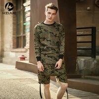 HZIJUE Lange mouw kwaliteit mode mannen top tee t-shirt t-shirt kanye camo camouflage hiphop swag skate merk-kleding tyga