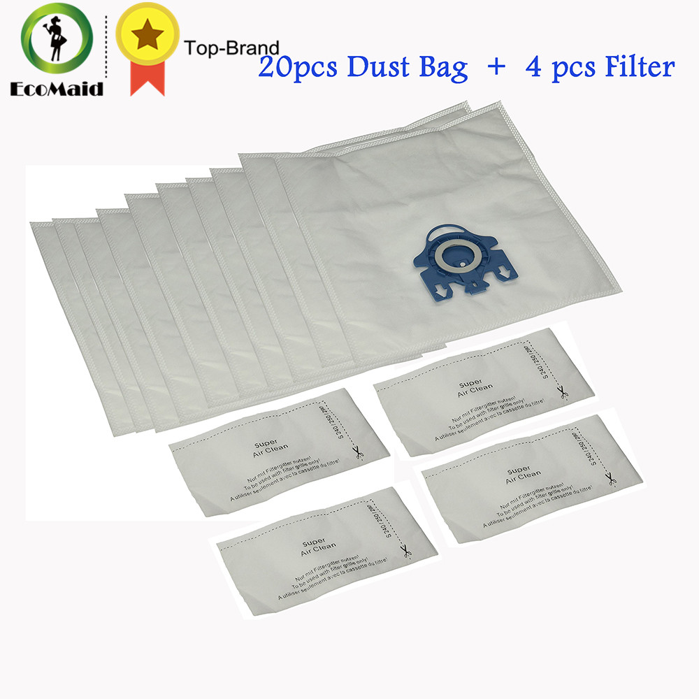 Dust Bag for Miele Vacuum Cleaner GN Type Vacuum Rubbish Bag Hoover Cat Dog Dust Bag Filter 20pcs+4 Filter for miele fjm dust bag with 10 dust bag for miele fjm gn type vacuum cleaner hoover dust bags