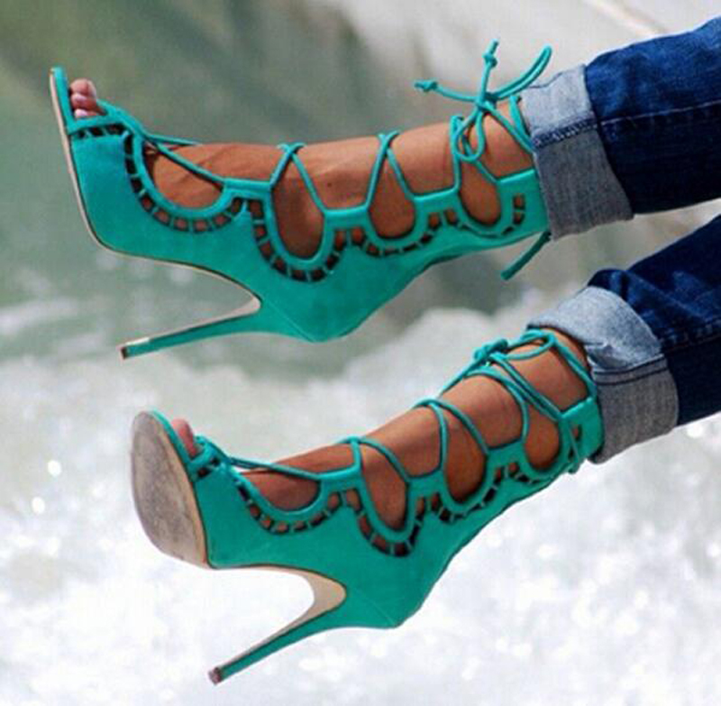 New Arrival Women Ankle Strap Lace-up High Heels Boots Hollow Out Open Toe Gladiator Sandals Four Colors Summer Women Shoes hot brand grid open toe high heels gladiator sandals women pumps lace up cut out summer ankle boots shoes woman sandalias mujer