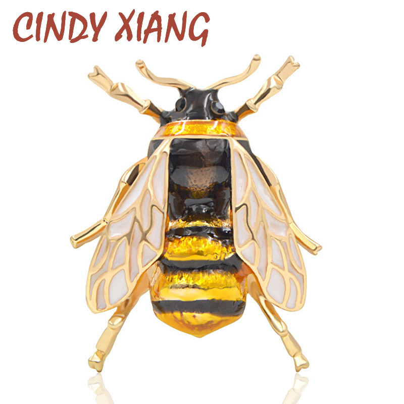 CINDY XIANG Unisex Colorful Insect Brooches Cute Bee Brooch Pin Gold Color Enamel Jewelry Fashion Dress Accessories High Qulity 1