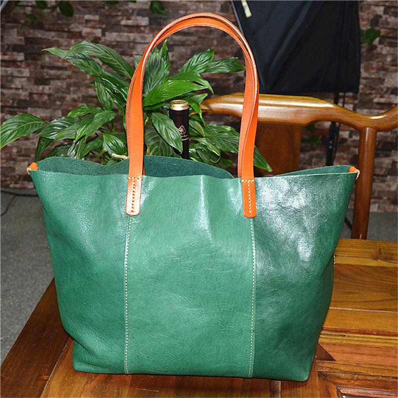 Nesitu Vintage Yellow Green Black Brown Coffee Vegetable Tanned Genuine Leather Women's Shoulder Bag Handbags Totes M32028
