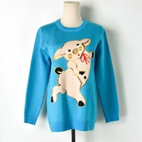 Runway Pullover Bright Blue Cute Pig Pattern Sweet Knitted Sweater O neck Long Sleeve Fashion Elegant Elegant Jumper